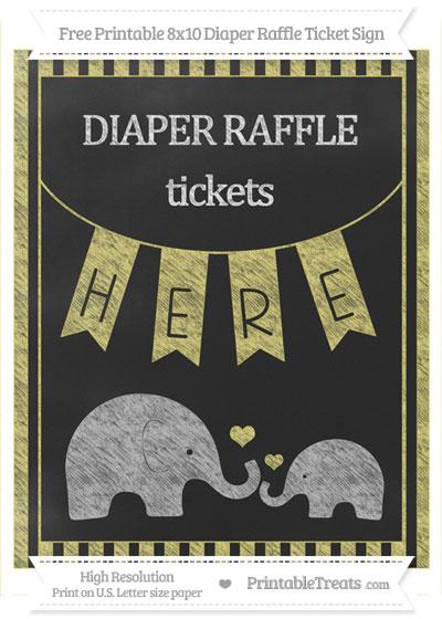 Free Straw Yellow Striped Chalk Style Elephant 8x10 Diaper Raffle Ticket Sign