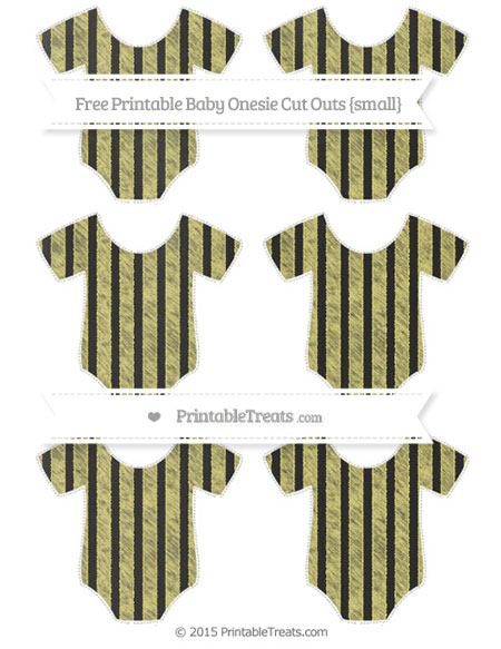 Free Straw Yellow Striped Chalk Style Small Baby Onesie Cut Outs