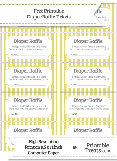 Free Straw Yellow Striped Diaper Raffle Tickets