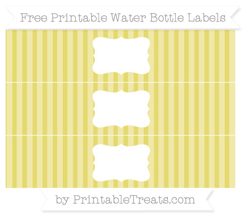 Free Straw Yellow Striped Water Bottle Labels