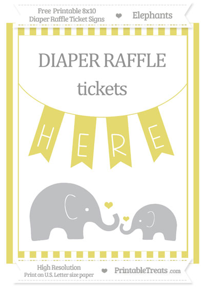 Free Straw Yellow Striped Elephant 8x10 Diaper Raffle Ticket Sign