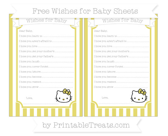 Free Straw Yellow Striped Hello Kitty Wishes for Baby Sheets