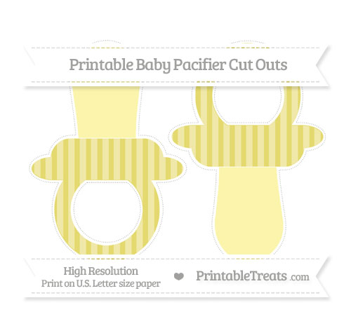 Free Straw Yellow Striped Large Baby Pacifier Cut Outs