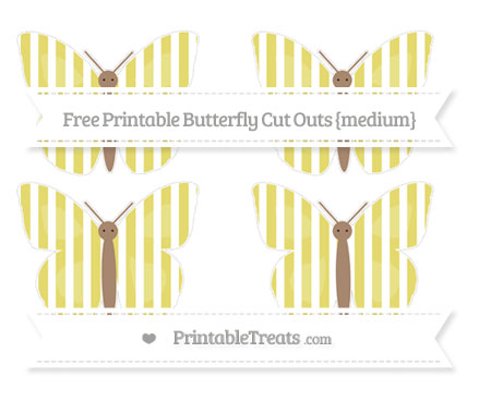 Free Straw Yellow Striped Medium Butterfly Cut Outs