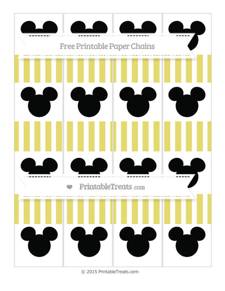 Free Straw Yellow Striped Mickey Mouse Paper Chains