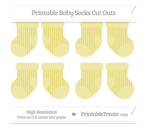 Free Straw Yellow Striped Small Baby Socks Cut Outs