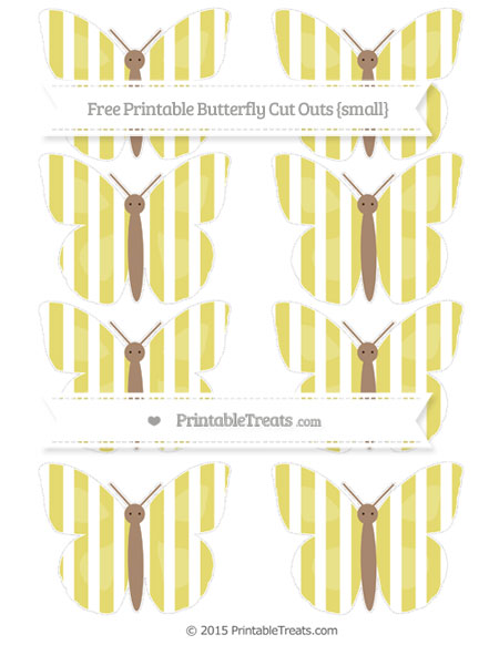Free Straw Yellow Striped Small Butterfly Cut Outs