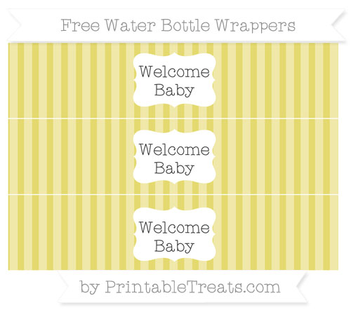 Free Straw Yellow Striped Welcome Baby Water Bottle Wrappers