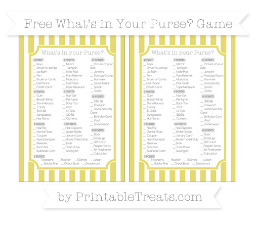 Free Straw Yellow Striped What's in Your Purse Baby Shower Game