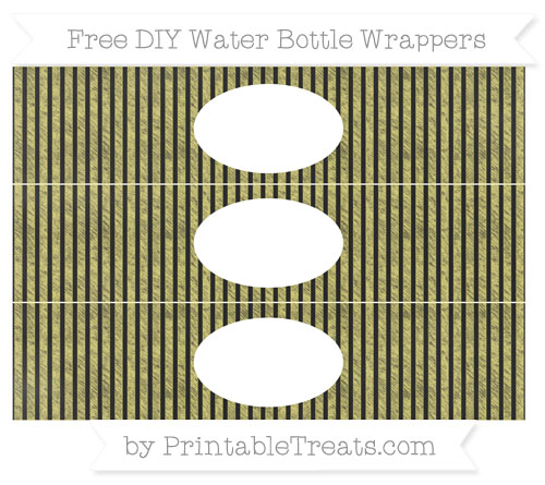 Free Straw Yellow Thin Striped Pattern Chalk Style DIY Water Bottle Wrappers
