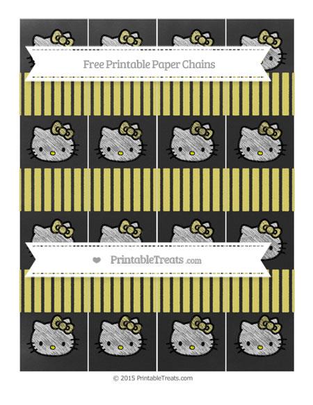 Free Straw Yellow Thin Striped Pattern Chalk Style Hello Kitty Paper Chains