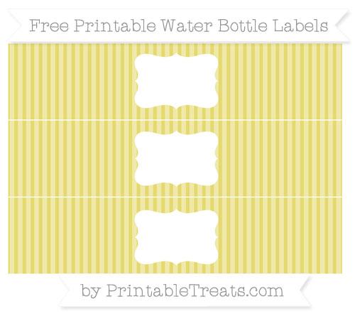 Free Straw Yellow Thin Striped Pattern Water Bottle Labels