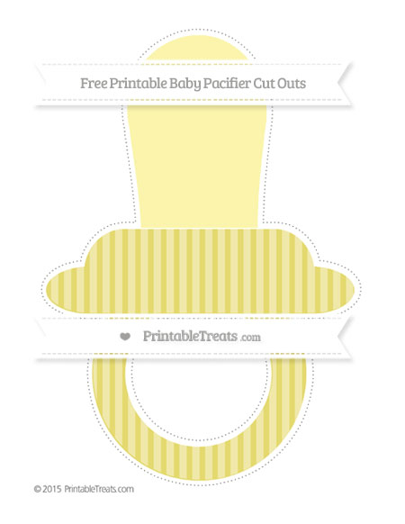 Free Straw Yellow Thin Striped Pattern Extra Large Baby Pacifier Cut Outs