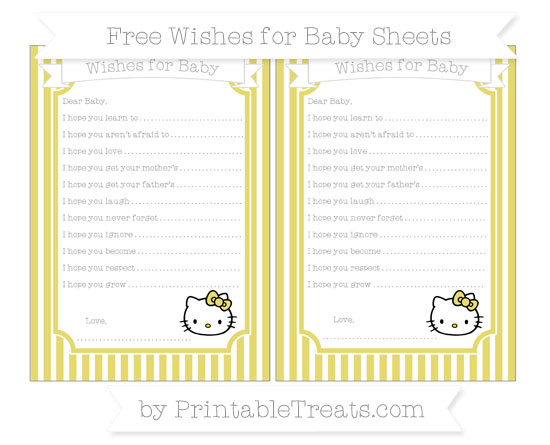Free Straw Yellow Thin Striped Pattern Hello Kitty Wishes for Baby Sheets