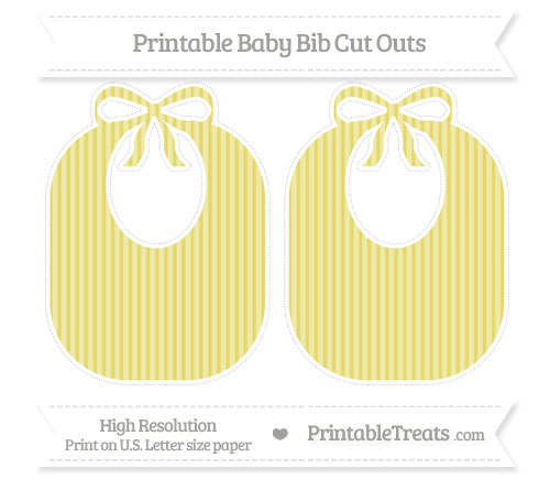 Free Straw Yellow Thin Striped Pattern Large Baby Bib Cut Outs