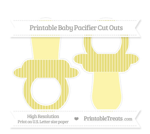 Free Straw Yellow Thin Striped Pattern Large Baby Pacifier Cut Outs