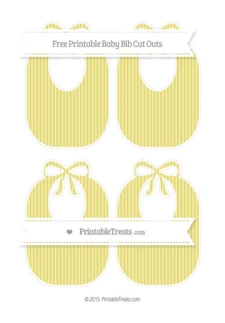 Free Straw Yellow Thin Striped Pattern Medium Baby Bib Cut Outs