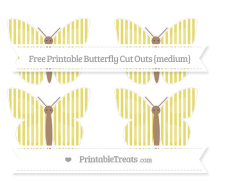 Free Straw Yellow Thin Striped Pattern Medium Butterfly Cut Outs