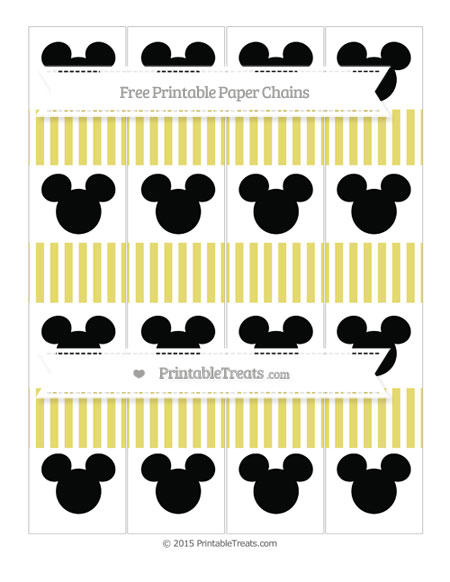 Free Straw Yellow Thin Striped Pattern Mickey Mouse Paper Chains