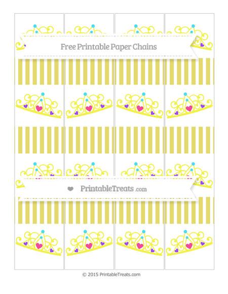 Free Straw Yellow Thin Striped Pattern Princess Tiara Paper Chains