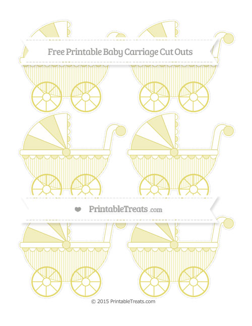 Free Straw Yellow Thin Striped Pattern Small Baby Carriage Cut Outs