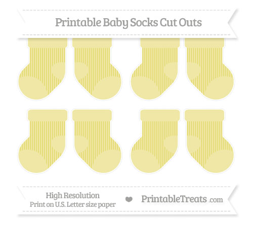 Free Straw Yellow Thin Striped Pattern Small Baby Socks Cut Outs
