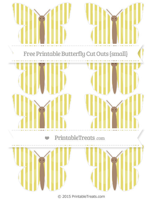 Free Straw Yellow Thin Striped Pattern Small Butterfly Cut Outs