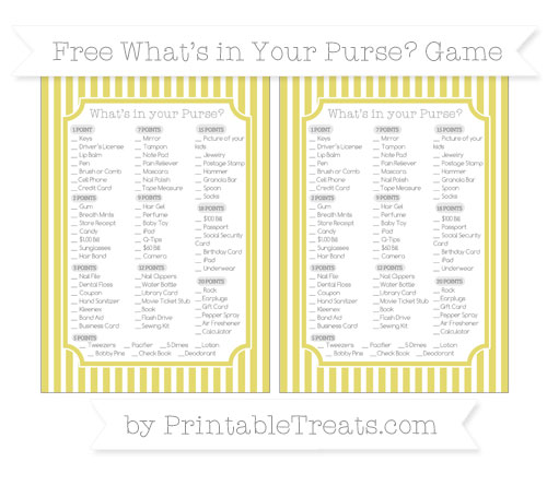 Free Straw Yellow Thin Striped Pattern What's in Your Purse Baby Shower Game