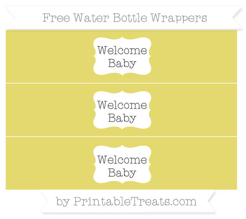 Free Straw Yellow Welcome Baby Water Bottle Wrappers
