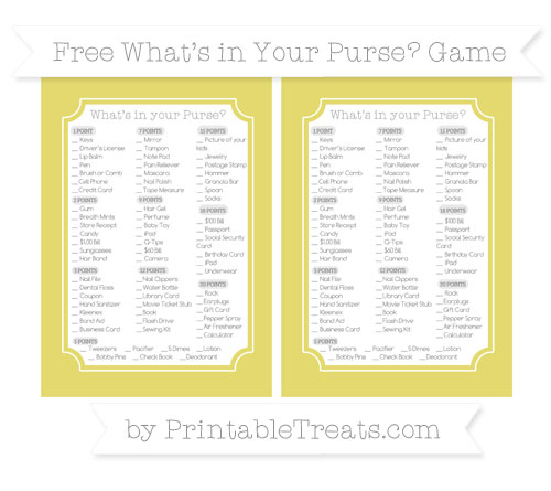 Free Straw Yellow What's in Your Purse Baby Shower Game