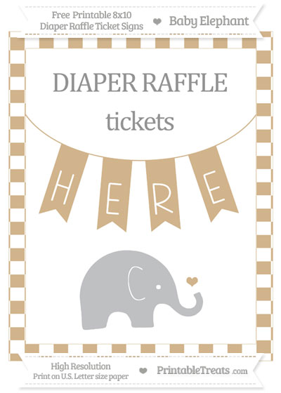 Free Tan Checker Pattern Baby Elephant 8x10 Diaper Raffle Ticket Sign