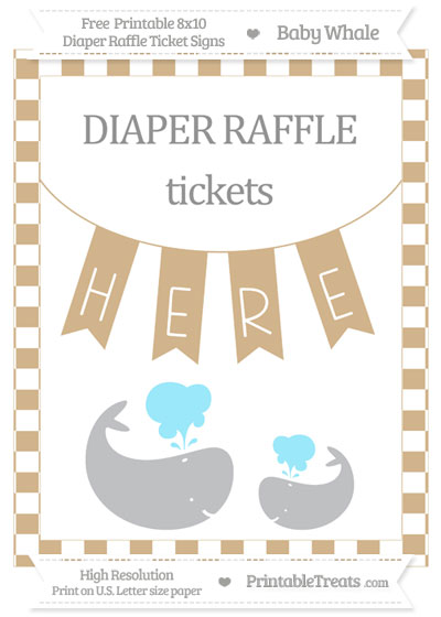 Free Tan Checker Pattern Baby Whale 8x10 Diaper Raffle Ticket Sign