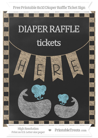 Free Tan Checker Pattern Chalk Style Baby Whale 8x10 Diaper Raffle Ticket Sign