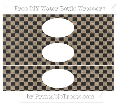 Free Tan Checker Pattern Chalk Style DIY Water Bottle Wrappers
