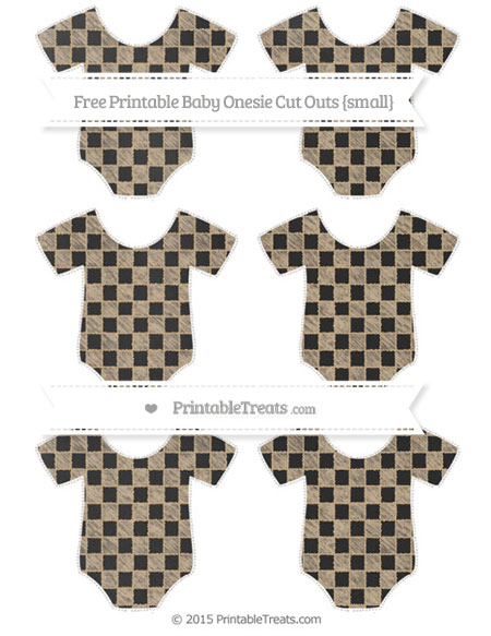 Free Tan Checker Pattern Chalk Style Small Baby Onesie Cut Outs