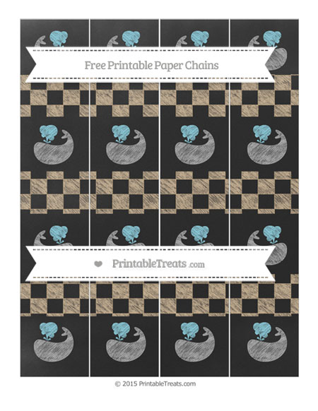 Free Tan Checker Pattern Chalk Style Whale Paper Chains