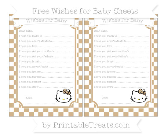 Free Tan Checker Pattern Hello Kitty Wishes for Baby Sheets