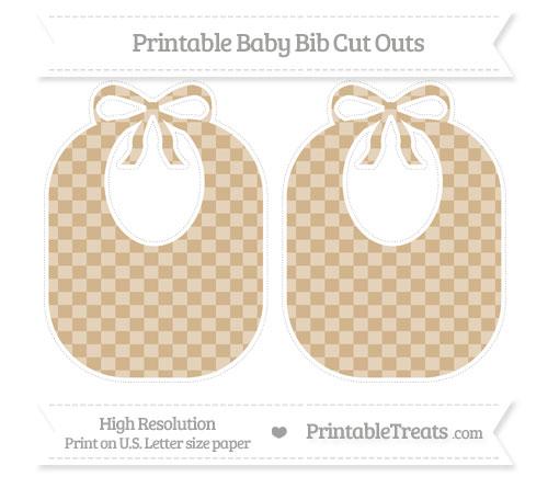 Free Tan Checker Pattern Large Baby Bib Cut Outs