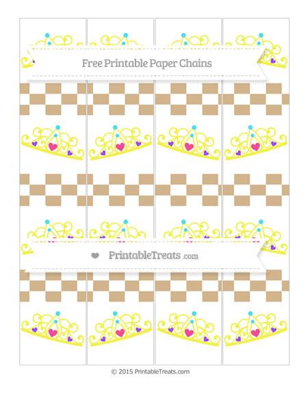 Free Tan Checker Pattern Princess Tiara Paper Chains