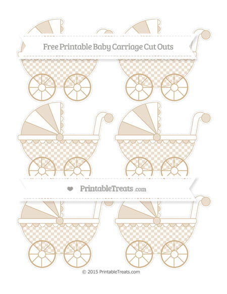 Free Tan Checker Pattern Small Baby Carriage Cut Outs