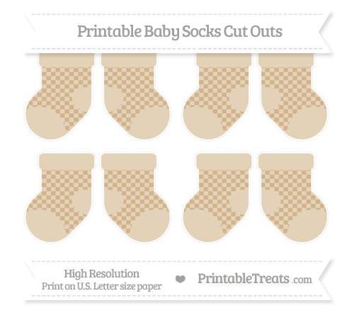 Free Tan Checker Pattern Small Baby Socks Cut Outs