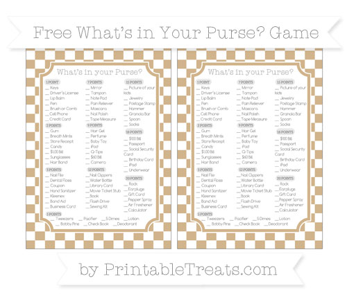 Free Tan Checker Pattern What's in Your Purse Baby Shower Game