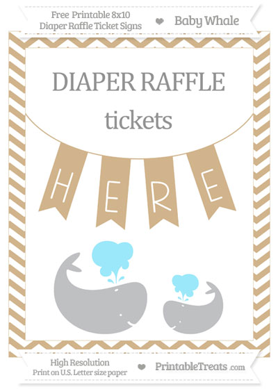Free Tan Chevron Baby Whale 8x10 Diaper Raffle Ticket Sign