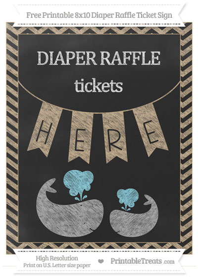 Free Tan Chevron Chalk Style Baby Whale 8x10 Diaper Raffle Ticket Sign