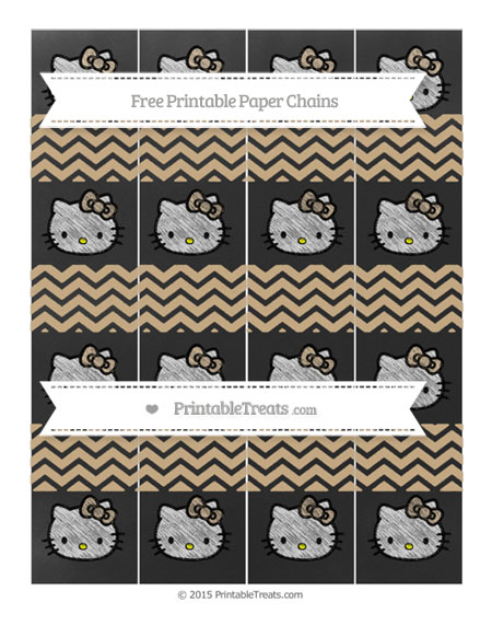Free Tan Chevron Chalk Style Hello Kitty Paper Chains