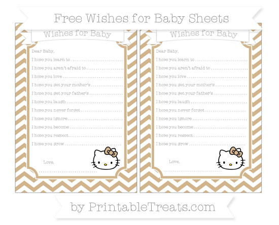 Free Tan Chevron Hello Kitty Wishes for Baby Sheets