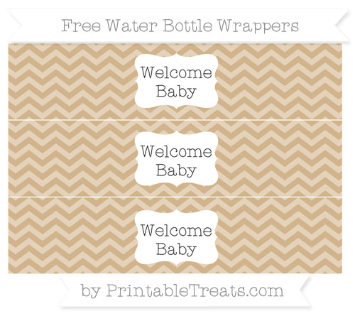 Free Tan Chevron Welcome Baby Water Bottle Wrappers