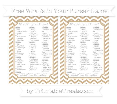 Free Tan Chevron What's in Your Purse Baby Shower Game