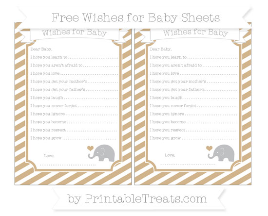 Free Tan Diagonal Striped Baby Elephant Wishes for Baby Sheets