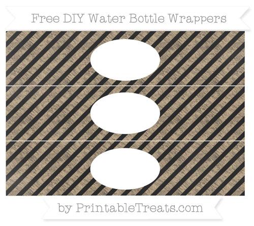 Free Tan Diagonal Striped Chalk Style DIY Water Bottle Wrappers